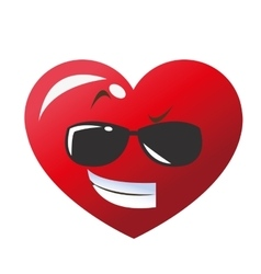 Cool sunglasses heart cartoon icon vector