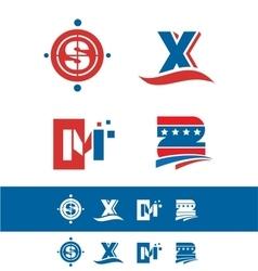 Blue red alphabet letter icon logo set vector image