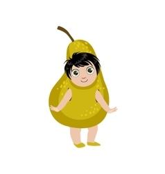 Boy dressed as pear vector