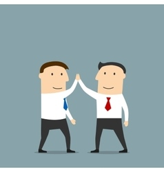 Businessmen celebrating success with a high five vector