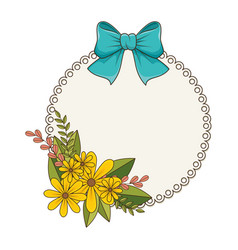 Circular border with floral bouquet and blue vector