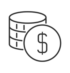 Coins stack icon vector