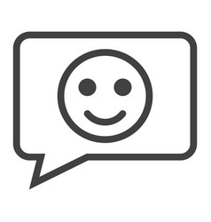 Comment with smile line icon feedback and website vector