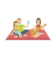 Family on picnic with mom playing guitar vector