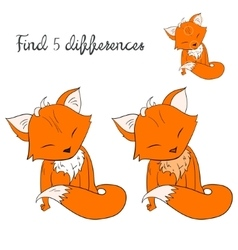 Find differences kids layout for game fox vector image vector image