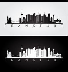 Frankfurt skyline and landmarks silhouette vector