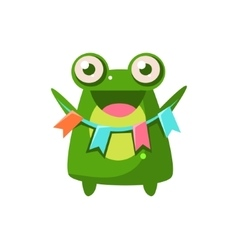 Frog party animal icon vector