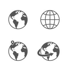 Globe earth icons set isolated on white background vector image