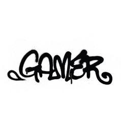 graffiti tag gamer sprayed with leak in black vector image vector image