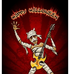 Halloween graphic with mummy playing guitar vector