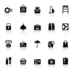 Home storage icons with reflect on white vector