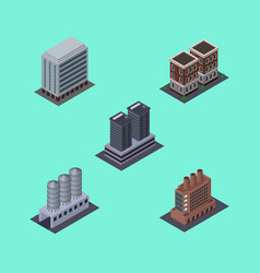 Isometric building set of tower house water vector