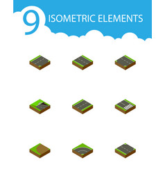 Isometric way set of downward down turning and vector