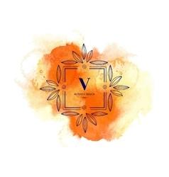 Moogram V at watercolor backdrop vector image