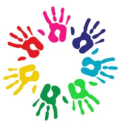 Multicolor diversity hands circle vector image