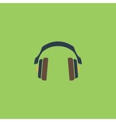 retro headphone flat icon vector image vector image
