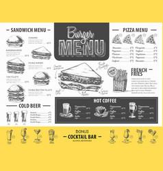 Vintage burger menu design fast food menu vector