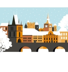 Winter prague city vector