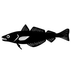 Silhouette of whiting fish vector