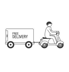 Cartoon free delivery motorcycle isolated vector
