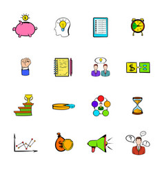 Business planning icons set cartoon vector