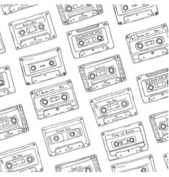 Seamless pattern plastic cassette audio tape vector