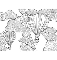 aeronautic balloon coloring book for adults vector image