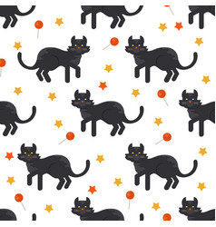 Halloween black cat seamles pattern vector