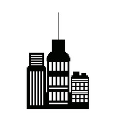 Business buildings skyscrapers exterior silhouette vector