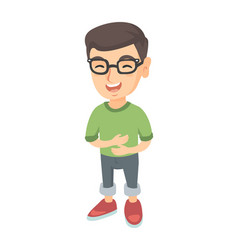 Caucasian cheerful boy in glasses laughing vector