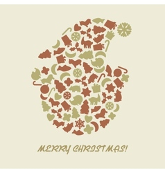 Christmas snowman in retro style vector image