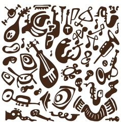 Jazz instruments doodles vector