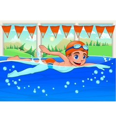 Young swimmer in the swimming pool vector
