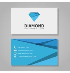 Diamond corporation business card template vector