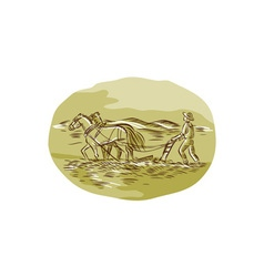 Farmer and horses plowing field oval etching vector
