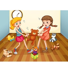 Girls fighting over teddy bear vector image