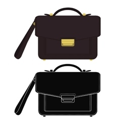 Businessman leather hand bag color silhouette vector