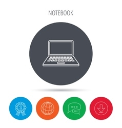 Notebook icon mobile laptop sign vector