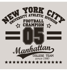 New york city typography football t-shirt vector
