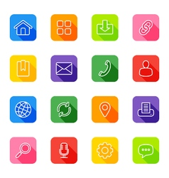Line web icon set on colorful rounded rectangle vector
