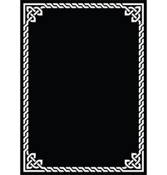 Celtic knot braided white frame - rectangle vector