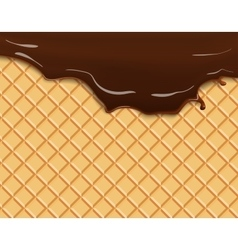 Dark chocolate melted on wafer background vector