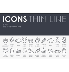 Easter thin line icons vector