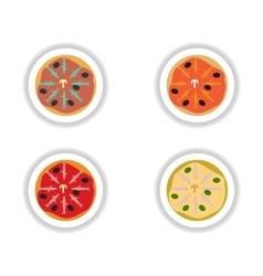 Set stickers pizza with salmon and olives vector