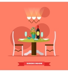 Dining room interior in flat vector