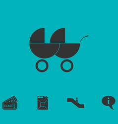 Baby carriage for two baby icon flat vector