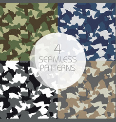 Camouflage seamless patterns set green brown vector