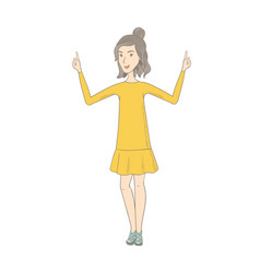 Caucasian hippie woman standing with raised arms vector