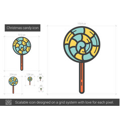 Christmas candy line icon vector