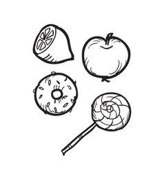 Doodle food element vector